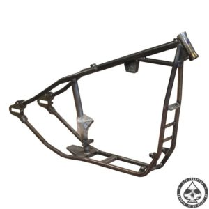 Paughco harstail frame for Harley Davidson evolution sportster engines ( 86-03 ). Frame has stock rake and stretch, accepts the 5 speed trans. engines, has no fatbob tank mounts and accepts a hydraulic disc brake.