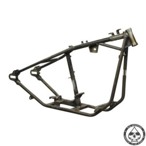 Paughco hardtail frame for Harley Davidson Bigtwin with a 4-speed tranmission. Frame hase a OEM style neck and a extra wide rear witch allows a 180 Wide rear tire with belt or a 200 wide tire with chain. Frame has late style fatbob tank mounts and will accept a rear hydraulic disc brake.