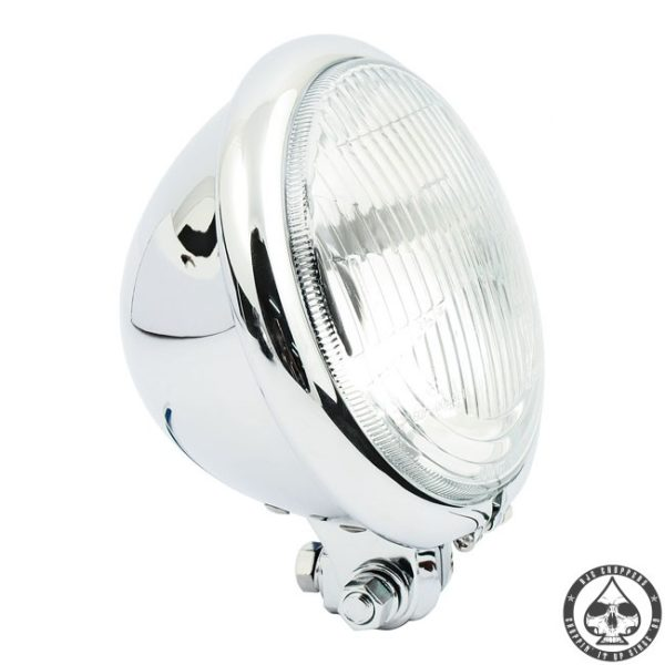 Bates style 5 3/4 Bottom mount headlight (H4) (Chrome)