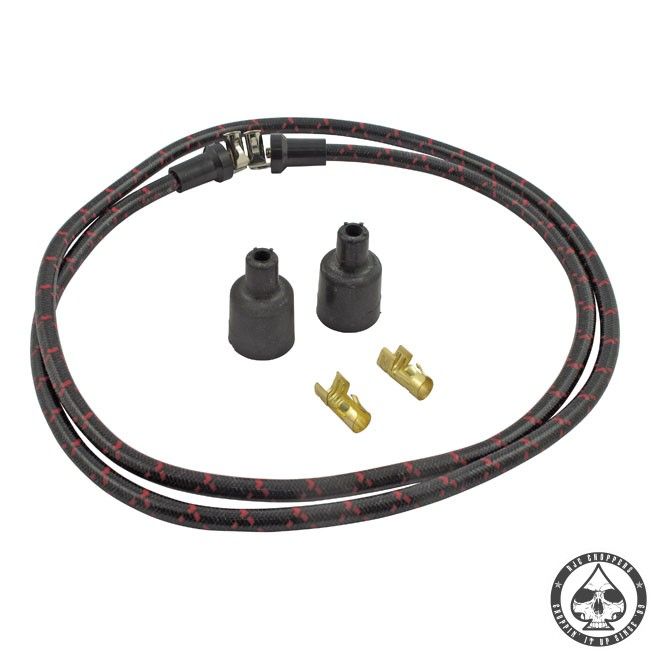 LowBrow cloth spark plug wire kit (Black/red)