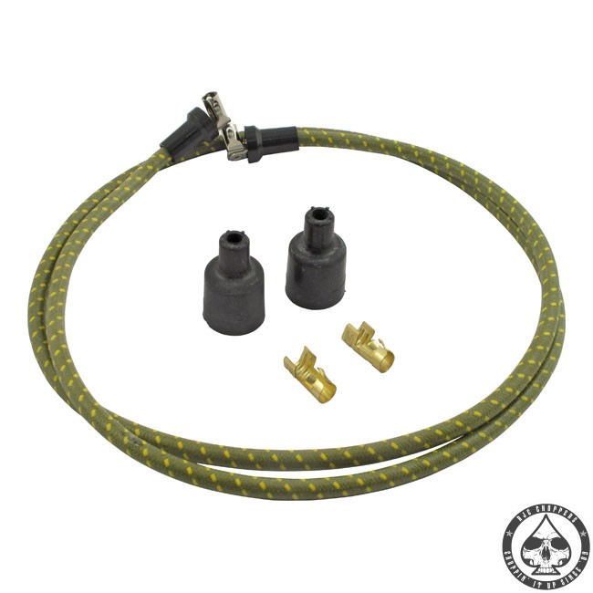 LowBrow cloth spark plug wire kit (Green/yellow)