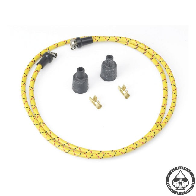 LowBrow cloth spark plug wire kit (Yellow/black-red)