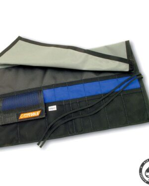 Cruztools, Roll-up tool pouch. A very rugged roll-up pouch made from ballistic nylon. With 18 pockets of varying width at two Heights to acommodate a wide range of contence