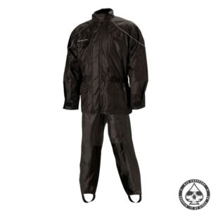 Two-piece 100% waterproof motorcycle rain suit with Polyester outher sheel with PVC backing. Jacket has full-lenght zipper with Velcro storm flap. Two large outer pockets. Cooling vents under each arm. Soft curduroy inner collar with hood.