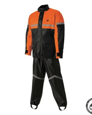 Nelson-Rigg Stormrider rain suit, Black/Orange. Two-piece 100% waterproof rain suit with Polyester outher sheel with PVC backing. Jacket has full-lenght zipper with Velcro storm flap
