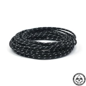 Cloth covered wiring, 25FT, Black with white tracing