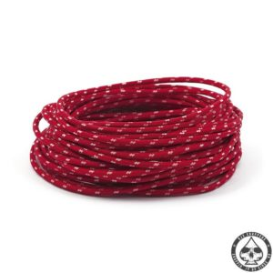 Cloth covered wiring, 25FT, Red with white tracing