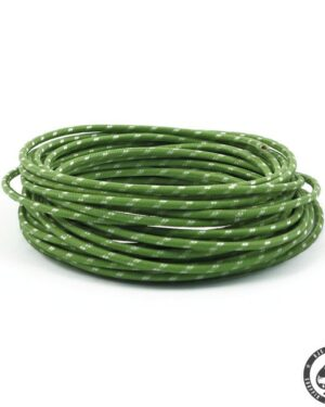 Cloth covered wiring, 25FT, Green with white tracing