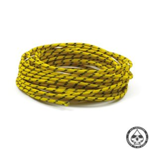 Cloth covered wiring, 25FT, Yellow with black tracing