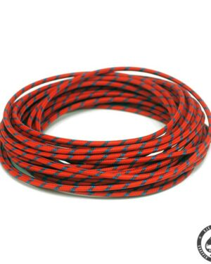 Cloth covered wiring, 25FT, Red with blue tracing.
