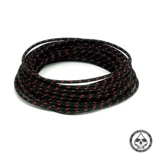 Cloth covered wiring, 25FT, Black with red tracing.