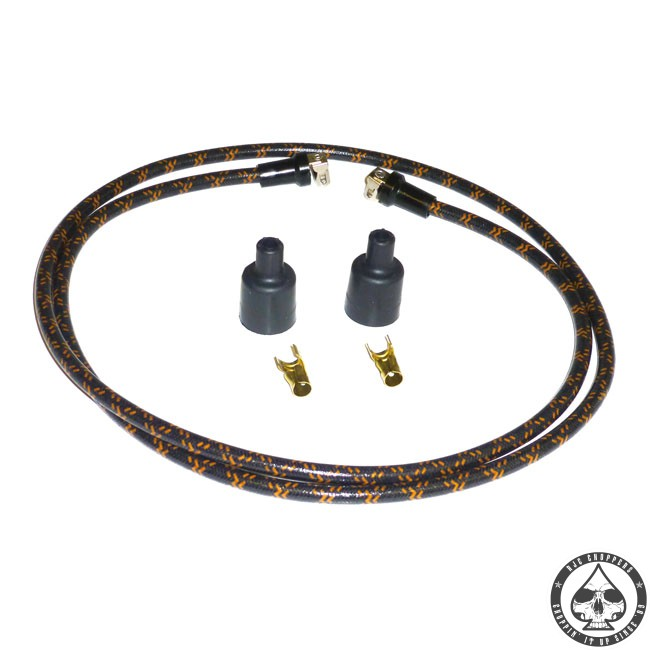 LowBrow cloth spark plug wire kit (Black/Orange)