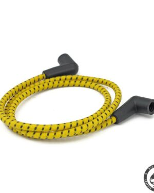 Universal cloth braided spark plug wire set (Yellow/Black)