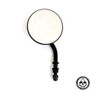 "3"" round mirror, Short stem, Black"
