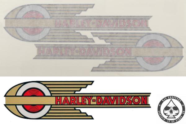 Tank decals Harley-Davidson, 1936 - 1946 style