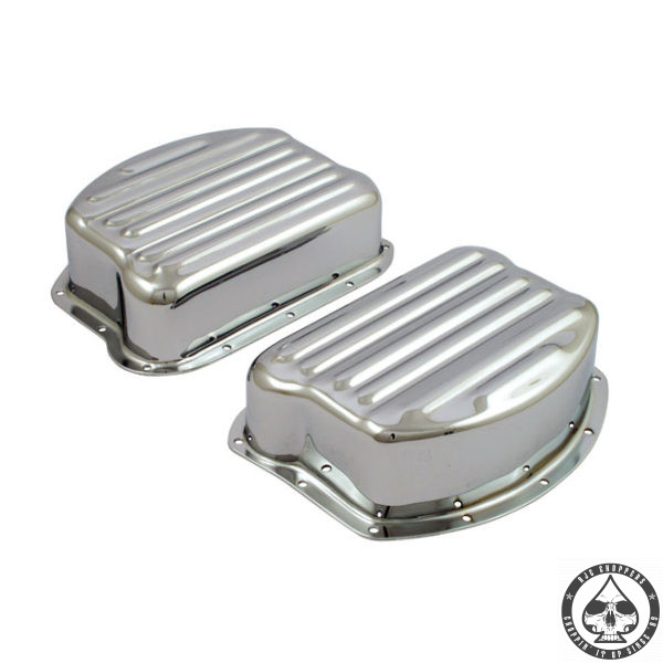 Ribbed Panhead Rocker Box cover set, Chrome ( Paughco )