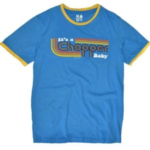 13 1/2 Magazine, It's a Chopper Baby T-shirt, Ringer Blue