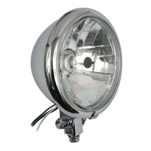 Bates style 5 3/4 Bottom mount headlight (Prismic lens) ( Chrome )